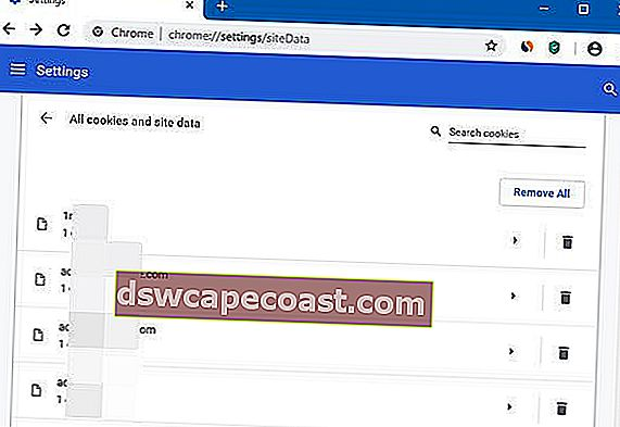 Cancella cache e cookie per un sito Web specifico in Chrome